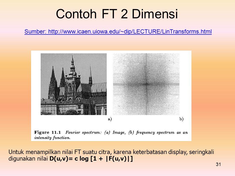 Contoh FT 2 Dimensi digunakan nilai D(u,v)= c log [1 + |F(u,v)|]